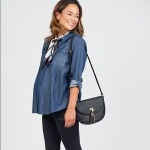 *Everly Grey • Maternity Chambray Shirt • XS & L